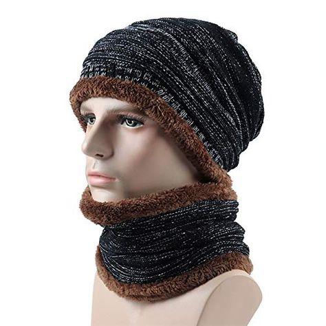 d100b6eb9c3 solde IBLUELOVER Bonnet Écharpe Homme Femme Hiver 2Pcs Ensemble Tour de Cou  Chauffant Chapeau en Tricot de Doublure Polaire Chapeau Beanie…