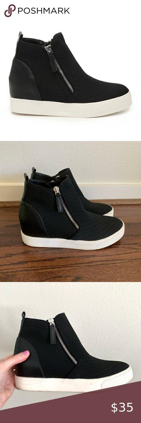 Steve Madden Black Loxley Wedge Sneaker