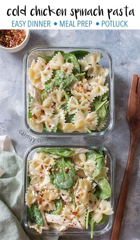 Cold Chicken Spinach Pasta Salad is the perfect easy cold meal prep idea or a dish for a potluck!This Cold Chicken Spinach Pasta Salad is the perfect easy cold meal prep idea or a dish for a potluck! School Lunch Prep For The Week - Pic Gratz Pasta Salad With Spinach, Chicken Spinach Pasta, Salad Chicken, Meals With Spinach, Chicken Meal Prep, Avocado Chicken, Shrimp Pasta, Chicken Recipes For Lunch, Healthy Meals With Chicken