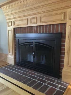 Pleasant Hearth Fenwick Cabinet Fireplace Screen And Arch Prairie Smoked Glass Doors Oil Rubbed Bronze Fireplace Smoked Glass Glass Door
