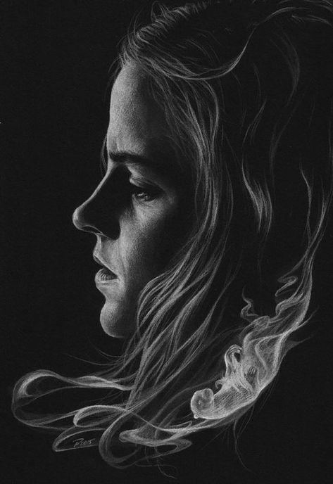 Des Portraits Au Crayon Blanc Sur Papier Noir Par Merilyn Crayon
