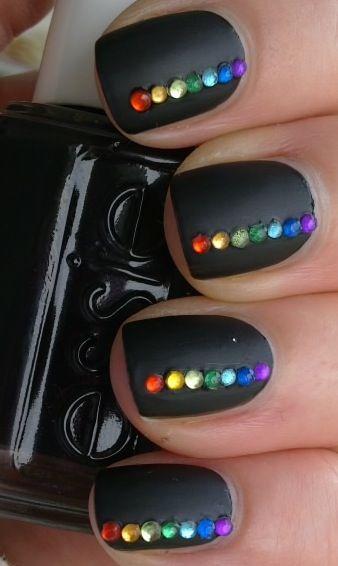 #Matte #black #rainbow #rhinestones #nails