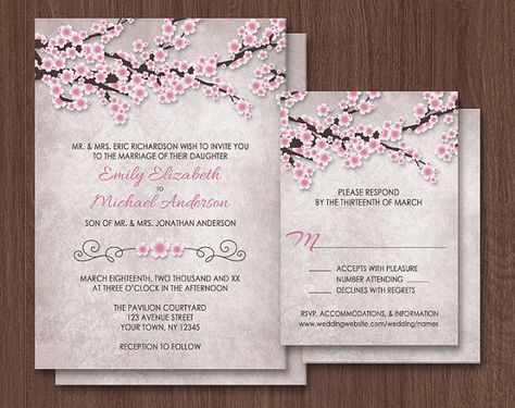 Vintage Rustic Cherry Blossom Wedding Invitations and matching RSVP cards, for your Spring or Summer