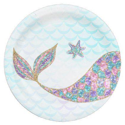 Glitter Mermaid Tail Paper Plates Under The Sea Paper Plate Zazzle Com In 2021 Mermaid Sticker Mermaid Plates Mermaid