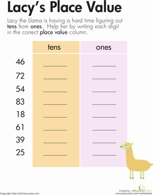 Addition Worksheets First Grade Place Values