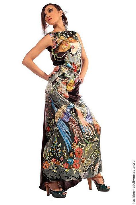 61eb15f84b2 Платье из натурального шелка.Роспись батиком – купить в интернет-магазине  на Ярмарке Мастеров с доставкой
