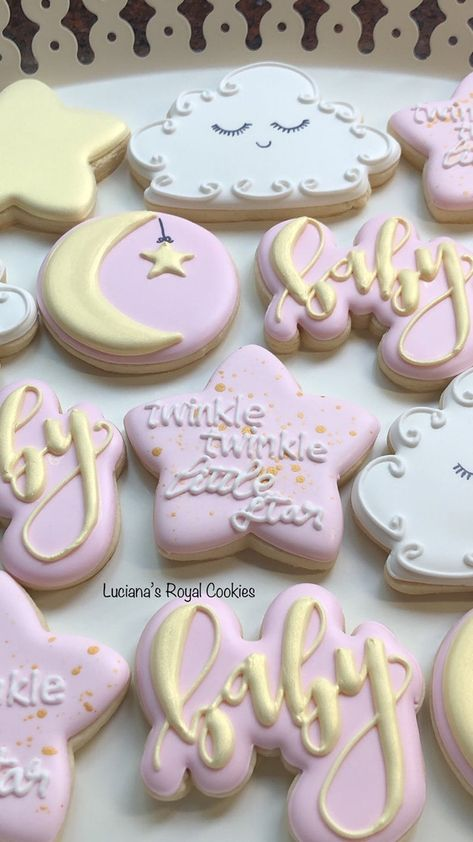 Baby Girl Cookies, Baby Shower Cupcakes, Baby Shower Cake Designs, Baby Girl Shower Themes, Girl Baby Shower Decorations, Girl Baby Shower Cakes, Star Sugar Cookies, Baby Shower Desserts, Star Baby Showers
