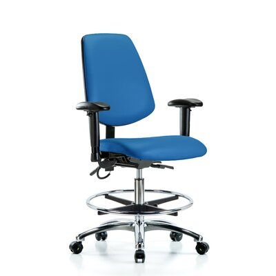 Symple Stuff Leonardo Ergonomic Drafting Chair Upholstery Colour Colour Colour Blue Casters Glides Glides Customization Included Drafting Chair Ergonomic Chair Contemporary Cushions