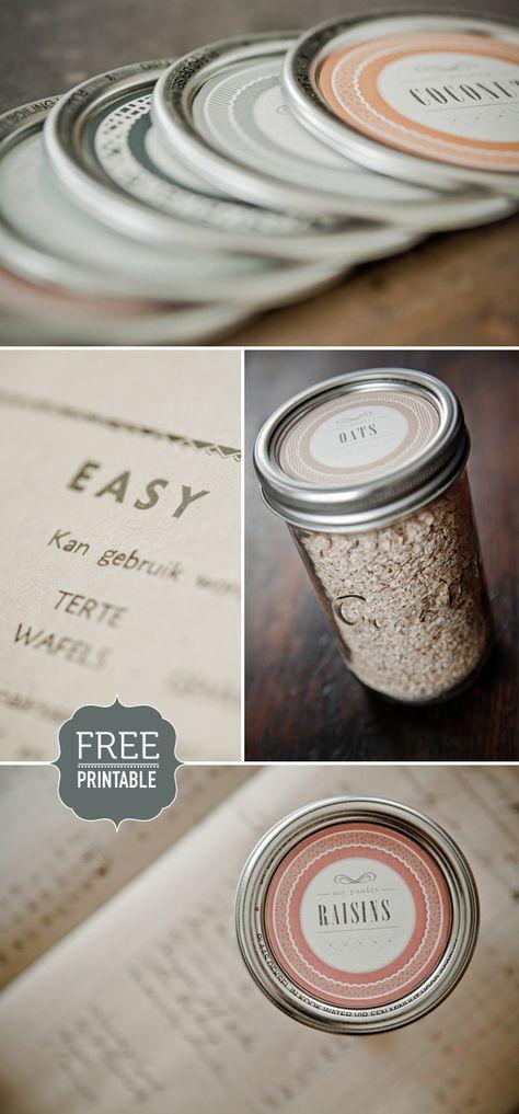 Printable mason jar labels-- candy bar?