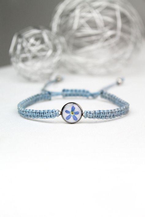 Naszyjnik Diament Stokrotka Kwiaty W Zywicy Kolorowa Etsy Thick Gold Chain Blue Bracelet Resin Jewelry
