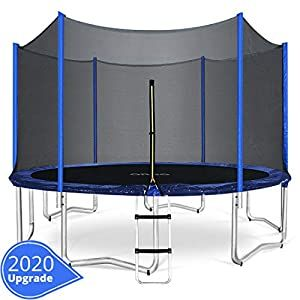Orcc 15 14 12 10ft Kids Trampoline Tuv Certificated Yard Trampoline With Enclosure Net Jumping Mat Spring Pad Wind Stakes Rain Cover And Pull T Hook Including In 2020 Trampoline Enclosure Best Trampoline Backyard Trampoline