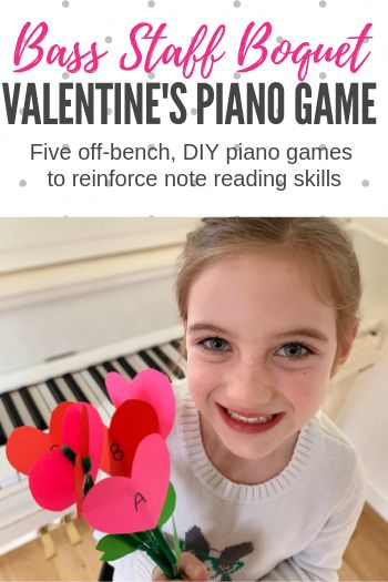 With this simple DIY activity you can have fun with 5 different piano games designed to improve bass clef note reading skills. #TeachPianoToday #PianoLessons #PianoTeaching #PianoGame #ValentinesPiano