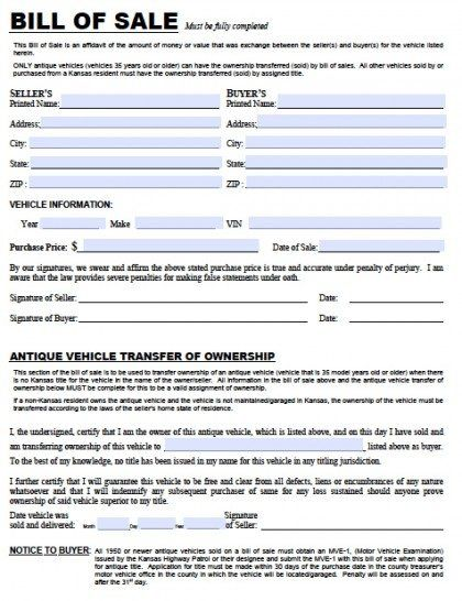 Free Kansas Dmv Vehicle Bill Of Sale Tr 12 Form Pdf Word