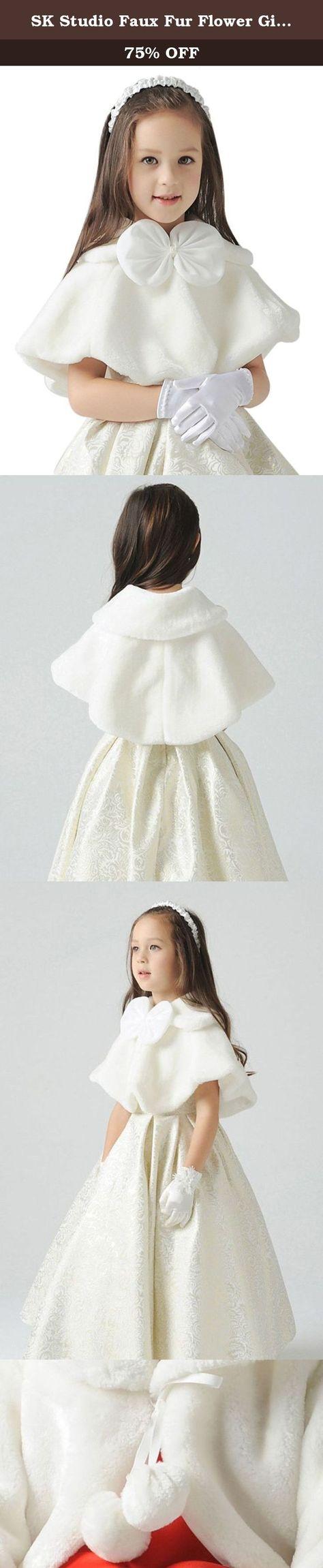 SK Studio Flower Girl Faux Fur Stole Shawl Wraps Cape Kids