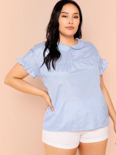 Plus Ruffle Cuff Striped Top | Plus Size Clothing | Plus size