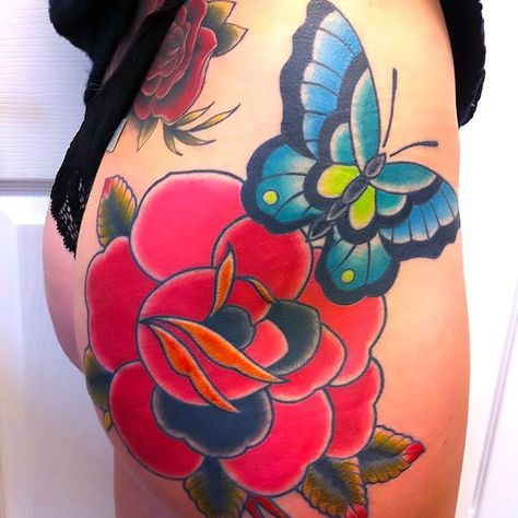 The coolest colorful tattoo on the butt!