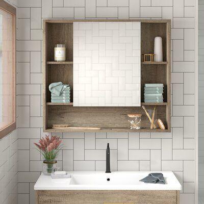 Allmodern Lee Surface Mount Framed Medicine Cabinet W 7 Shelves Wood In Brown In 2021 Bathroom Mirror Storage Medicine Cabinet Organization Recessed Medicine Cabinet