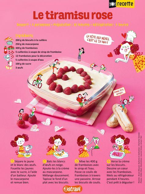Le tiramisu rose, une recette facile du magazine Astrapi pour les enfants de 7 à 11 ans. Avec : des biscuits à la cuillère, du mascarpone, des framboises, du sucre et des oeufs. (extrait du n°861)