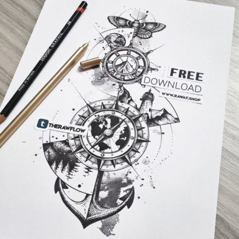 Wanderlust! This large dotwork design is inspired by exploration and you can download it for FREE: www.rawaf.shop/tattoo #wanderlust #dotwork #anchor #compass #nature #galaxy #dotworktattoo #wanderlusttattoo #compasstattoo #naturetattoo #globetattoo #anchortattoo #galaxytattoo #free