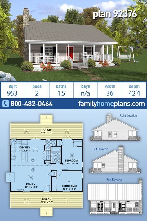 Ranch Style House Plan 92376 With 2 Bed 2 Bath Vacation House Plans Ranch Style House Plans Small Home Plan