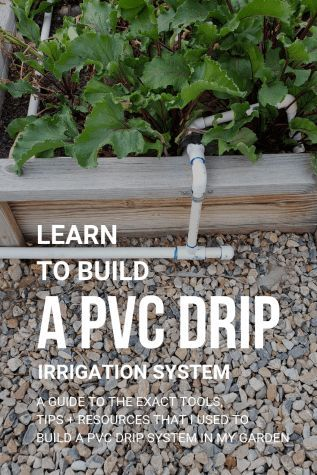 PVC Drip Irrigation is inexpensive and easy to build method for watering your backyard garden. After adding a PVC drip irrigation system to your garden you can expect stronger vegetable plants, fewer weeds, and a lower water bill! Vegetable Garden Planner, Backyard Vegetable Gardens, Veg Garden, Garden Planters, Vegtable Garden Layout, Gardening Vegetables, Terrace Garden, Garden Path, Drip Irrigation System