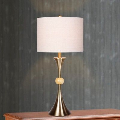 Trumpet Base Antique Brass & Beige Marble Table Lamps Brass