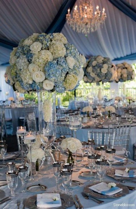 remarkable wedding reception ideas from stoneblossom dusty blue blue wedding colors and, dusty blue wedding centerpieces