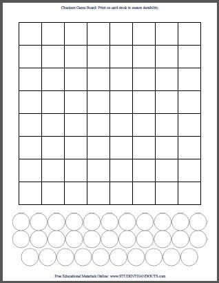 Blank White Diy Checkers Checkerboard Template