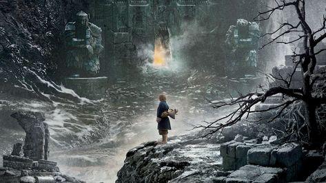HD wallpaper: The Hobbit 2-The Desolation of Smaug Movie HD Wall.., Bilbo Baggins facing The Mountain wallpaper