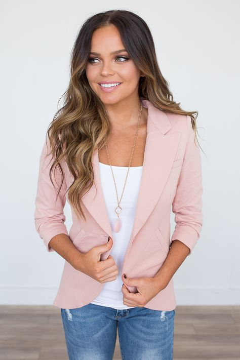 Class Act Knit Lapel Blazer - Dusty Pink  7355b91314878
