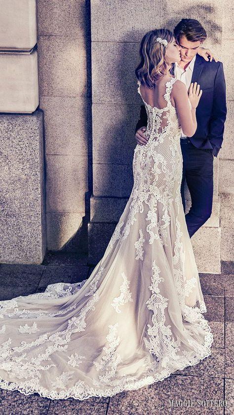 08a4296a926b ... Report 2019 // Maggie Sottero Fall 2018 bridal sleeveless with strap  sweetheart neckline full embellishment elegant mermaid wedding dress chapel  train ...