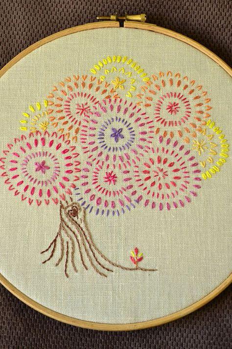 Read the full title Embroidery pattern beginner • PDF • Fall Tree • colorful foliage • Bonsai tree • NaiveNeedle
