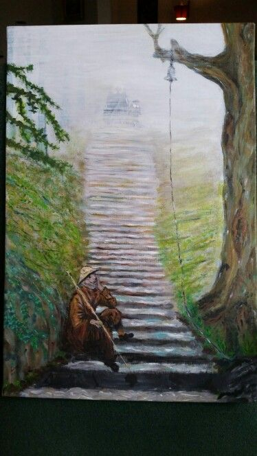 201412 acryl painting trap in bos mistige personen