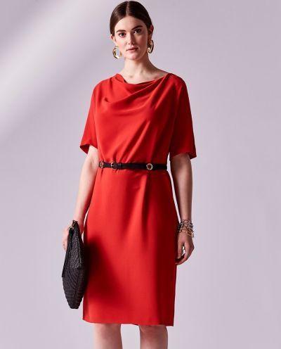 Los Vestidos De Comunion Para Madres Vestido Rojo Cuello Drapeado Talla Grande Adolfo Dominguez 2018 El Vestidos Rojos Vestidos Con Mangas Vestidos De Comunion