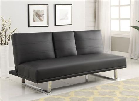 Contemporary Black Red Stitching Faux Leather Sofa Bed