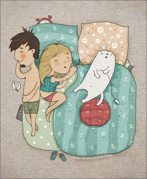 Dormir con gatos...