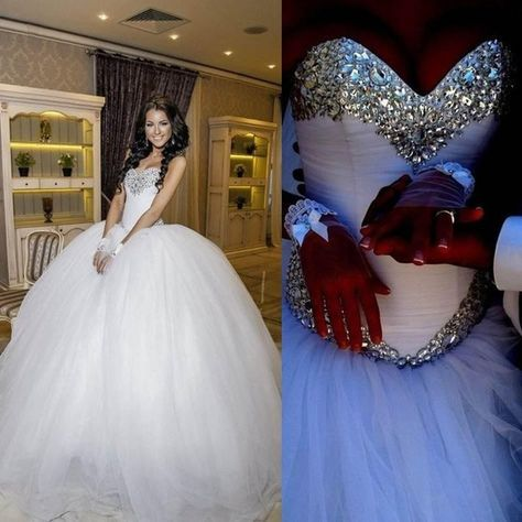 Luxury Crystal Tulle Ball Gown  Wedding Dress with Sparkly crystal  Rhinestone bodice 5ccf1c6141b2