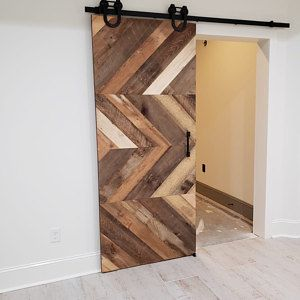 Custom Sliding Barn Door Reclaimed Stacked Pattern Etsy In 2020 Sliding Barn Door Barn Door Barn Door Designs