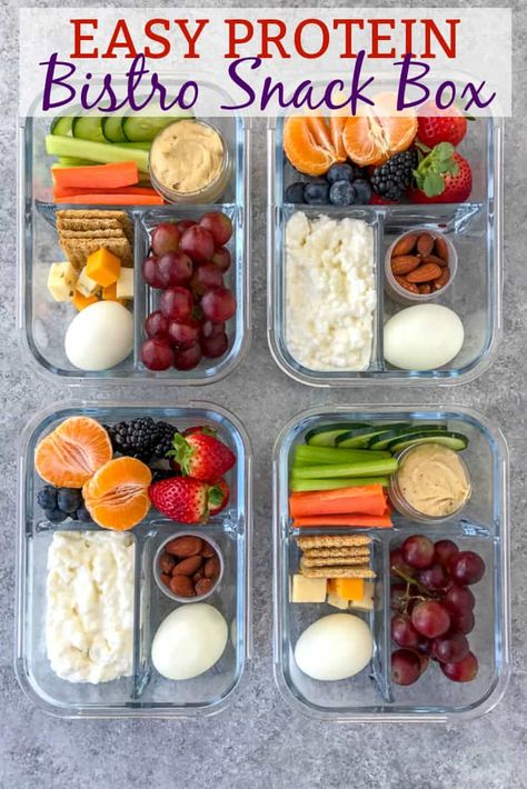Snacks Cold Protein Packed Bistro Box - learn how to make your own snack boxes -easily and quickly! These two option bistro boxes comes together in minutes and are perfect as a post-workout snack, for meal prepped lunches, or if you live life on the go! Snack Boxes Healthy, Healthy Protein Snacks, Lunch Snacks, Healthy Drinks, Healthy Eating, Healthy Recipes, Healthy Options, Protein Box, Box Lunches
