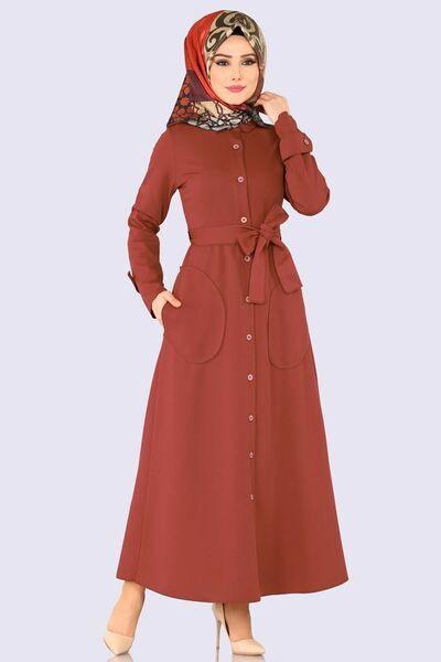 Modaselvim Elbise Dugmeli Elbise Ferace 113 5mc359 Kiremit Hijab Evening Dress Fashion Abaya Fashion