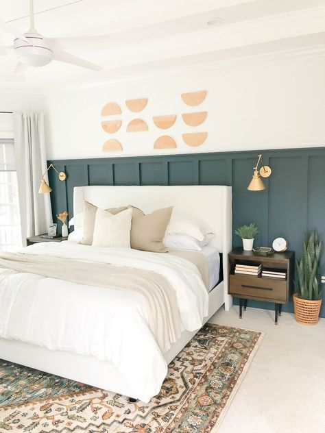 We will grab a few sample colors of Valspar Signature Ultra before making a final decision but I'm really loving the idea of Slate Court. Wall Behind Bed, Bed Wall, Home Bedroom, Bedroom Decor, Bedroom Wall Designs, Master Bedroom, Half Painted Walls, Accent Wall Bedroom, Bedroom Wall Panels