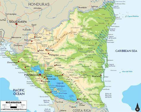 Physical Map of Nicaragua - Ezilon Maps | America in 2019 ...