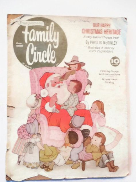 Collectible Family Circle December 1959 Magazine, 17 Color Gyo Fujikawa Christmas Illustrations, Special Phyllis McGinley Feature
