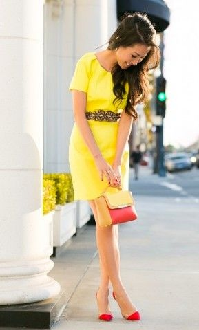 2484f0ec33b0f7 Yellow and red. Beautiful for the warm weather | Fashion Gems | Fashion,  Yellow dress, Dresses