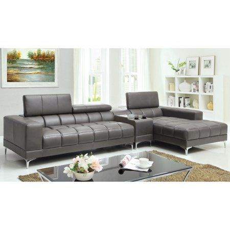 Furniture Of America Riverton 2 Piece Sectional Sofa With Optional Bluetooth Console Gra With Images Sectional Sofa With Chaise Sectional Sofa Couch Furniture Of America