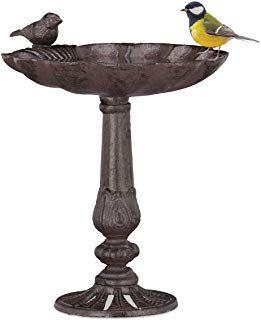Relaxdays Gusseisen Vogeltranke Saule Gartendeko Stehend Vogelfutterstelle Muschel Wasserschale F Wildvagel Braun Gift Kuche Gusseisen Garten Deko Wildvogel