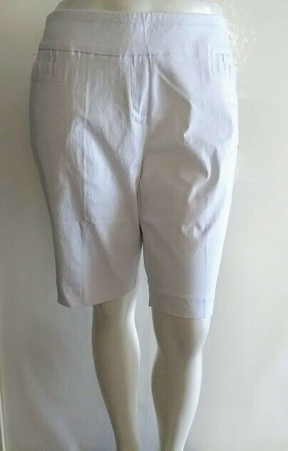 NEW Dana Burchman Bermuda Womens Stretch Pull On White Khaki Black Shorts XL