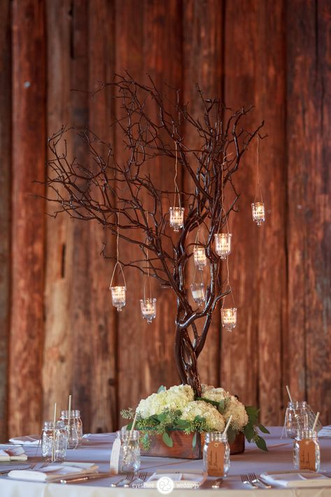 Manzanita Tree with hanging votives and hydrangea #RusticWedding #Centerpiece Venue: Desert Foothills  Coordinator: @adaytocherish  Photographer: Eyes2See Photography Floral Design: Your Event Florist