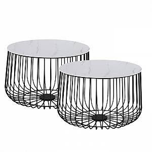 Idimex Lot De 2 Tables D 39 Appoint Padova En Metal Noir Et Decor Marbre Blanc En 2020 Bout De Canape Design Marbre Blanc Table Cafe