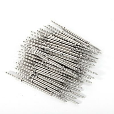 50pcs T316 Turnbuckle Hand Swage Tensioner Lag Screw For 1 8 Cable Silver In 2020 Cable Railing Railing Cable